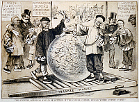 0167033 © Granger - Historical Picture ArchiveIMMIGRATION CARTOON, 1879.   'The Chinese question would be settled if the Chinee, Chinee would votee! votee!' Cartoon showing stereotyped Chinese immigrants voting the straight Democratic ticket. Lithograph, 1879.