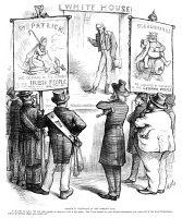 0355202 © Granger - Historical Picture ArchiveCARTOON: IMMIGRATION, 1877.   'Reform is Necessary in the Foreign Line.' Cartoon by Thomas Nast, 1877, showing Uncle Sam explaining to German and Irish immigrants that their demands in the interest of their home countries constitute as foreign affairs.