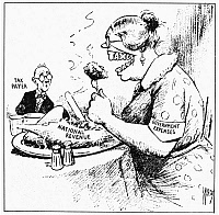 0048233 © Granger - Historical Picture ArchiveTAX CARTOON, 1935.   A contemporary cartoon comment on Franklin D. Roosevelt's Revenue Act of 1935.