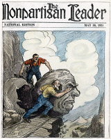 0011356 © Granger - Historical Picture ArchiveCARTOON: LABOR, 1921.   Cartoon on the front page of the 30 May 1921 issue of the 'Nonpartisan Leader,' newspaper of the Nonpartisan League, urging a political alliance between farmers and organized labor. Cartoon by John Miller Baer, 1921.