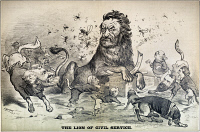 0350556 © Granger - Historical Picture ArchiveCARL SCHURZ (1829-1906).   American army officer, politician, and reformer. 'The Lion of Civil Service.' Cartoon, 1878.