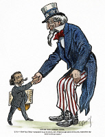 0352866 © Granger - Historical Picture ArchiveUNCLE SAM, 1902.   'Uncle Sam greets Cuba.' Cartoon by Thomas Fleming, 1902.