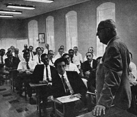 0352948 © Granger - Historical Picture ArchiveKARL AUGUSTUS MENNINGER   (1893-1990). American psychiatrist. Menninger lecturing to resident psychiatrists at the Menninger Foundation in Topeka, Kansas. Photograph, 1963.