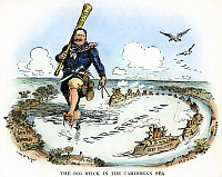 0008504 © Granger - Historical Picture ArchiveTEDDY ROOSEVELT CARTOON.   'The Big Stick in the Caribbean Sea.' President Theodore Roosevelt enforcing his concept of the Monroe Doctrine by having a U.S. naval flotilla steam from one Caribbean port to another. Cartoon, 1904, by W.A. Rogers.