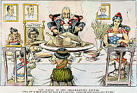 0061309 © Granger - Historical Picture ArchiveTHANKSGIVING CARTOON, 1898.   New Faces at the Thanksgiving Dinner: American cartoon, 1898, on the U.S. territorial acquisitions following the conclusion of the Spanish-American War.