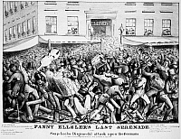 0001317 © Granger - Historical Picture ArchiveIRISH-GERMAN RIOT, 1840.   'Fanny Ellsler's [sic] Last Serenade, or The Soap-Locks Disgraceful Attack upon the Germans.' An 1840 cartoon on the hostilities between Irish and German immigrants in New York, showing a gang of Irish 'Bowery Boys' attacking German musicians.