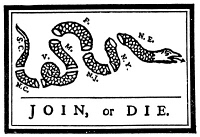 0004379 © Granger - Historical Picture ArchiveJOIN OR DIE CARTOON, 1754.   First American political cartoon, originally published by Benjamin Franklin in his Pennsylvania Gazette, 1754.