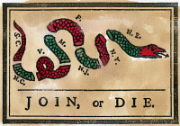 0008501 © Granger - Historical Picture ArchiveCARTOON: JOIN OR DIE, 1754.   First American political cartoon, originally published by Benjamin Franklin in his Pennsylvania Gazette. Cartoon, 1754.