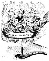 0033638 © Granger - Historical Picture ArchiveFIRING OF MacARTHUR.   American cartoon by L.J. Roche, 1951, showing President Harry S. Truman, Secretary of State Dean Acheson, and the Pentagon in the proverbial frying pan over Truman's decision to remove General Douglas MacArthur from his post as supreme commander of U.N. forces in Korea.