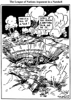 0034126 © Granger - Historical Picture ArchiveCARTOON: LEAGUE OF NATIONS.   A 1919 cartoon by J.N. ('Ding') Darling on Woodrow Wilson's efforts to gain Congressional support for the Versailles Treaty and the League of Nations.