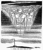 0034152 © Granger - Historical Picture ArchiveUNITED NATIONS CARTOON.   '...Shall Not Have Died in Vain.' American cartoon by D.R. Fitzpatrick, 1945, alluding to Abraham Lincoln's Gettysburg Address of 1863 in stressing the importance of U.S. entry into the newly established United Nations, seen as the best way to preserve a peace arduously won in two world wars.