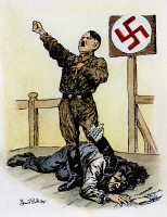 0035682 © Granger - Historical Picture ArchiveHITLER CARTOON, 1933.   'Precept and Practice.' Cartoon by Sir Bernard Partridge, 1933, noting the irony between German Chancellor Adolf Hitler's commandments of brotherhood and his actual persecution of the Jews. RESTRICTED OUTSIDE US.