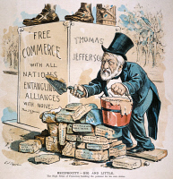0046472 © Granger - Historical Picture ArchiveJAMES G. BLAINE CARTOON.   Secretary of State James Gillespie Blaine (1830-1893), attempting to cement shady alliances, is compared unfavorably to Thomas Jefferson in this 1891 cartoon by C. Jay Taylor.
