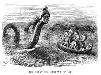 0056223 © Granger - Historical Picture ArchiveEUROPE, 1848: CARTOON.   The Great Sea Serpent of 1848. Cartoon from 'Punch' (London), 1848, on the revolutionary spirit in Europe.
