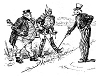 0057057 © Granger - Historical Picture ArchiveMONROE DOCTRINE CARTOON.   'Uncle Sam - That's A Live Wire, Gentlemen!' A 1902 cartoon by W.A. Rogers on German and British claims against Venezuela and President Theodore Roosevelt's intentions to resist proposed German attempts to occupy Venezuelan territory.