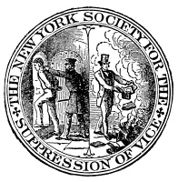 0059533 © Granger - Historical Picture ArchiveCENSORSHIP SEAL, 1873.   The seal of the New York Society for the Suppression of Vice, founded in 1873. On the left, the purveyor of obscenity is being thrust into a cell; while on the right a Christian layman consigns infamous volumes to the flames.