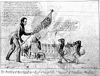 0076068 © Granger - Historical Picture ArchiveSEMINOLE WAR CARTOON, 1840.   A lithograph cartoon of 1840 attacking Secretary of War Joel B. Poinsett for using bloodhounds to track Native Americans during the Seminole War.