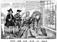 0077243 © Granger - Historical Picture ArchiveCARTOON: PANIC OF 1837.   'Uncle Sam Sick with La Grippe': American lithograph cartoon, 1837, depicting Democratic leaders Andrew Jackson, Thomas Hart Benton, and Martin Van Buren as quacks attending an ailing Uncle Sam; through the window, Brother Jonathan is seen happily receiving a new doctor, Nicholas Biddle, president of the Bank of the United States.