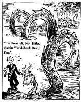 0077473 © Granger - Historical Picture ArchiveANTI-LINDBERGH CARTOON.   'Tis Roosevelt, Not Hitler, that the World Should Really Fear.' American cartoon by Dr. Seuss (Theodor Geisel) for 'PM', 2 June 1941, satirizing the celebrated aviator, Charles A. Lindbergh, as sympathetic to Nazi dictator Adolf Hitler, here represented as a gigantic sea serpent stretching across the Atlantic.