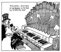 0077476 © Granger - Historical Picture ArchiveFAIR EMPLOYMENT CARTOON.   'Listen, maestro...if you want to get real harmony, use the black keys as well as the white!': American cartoon by Dr. Seuss (Theodor Geisel) for 'PM', 29 June 1942, on the Roosevelt administration's policy of denying federal contracts to companies that practiced racial discrimination in employment during World War II.