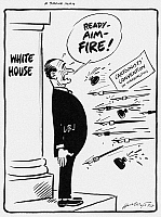 0092652 © Granger - Historical Picture ArchiveLYNDON B. JOHNSON: CARTOON.   'A Brave Man.' President Lyndon Johnson caricatured in a cartoon by Cy Hungerford for the Pittsburgh Post-Gazette, 1960s.