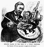 0096753 © Granger - Historical Picture ArchiveBLAINE CARTOON, 1878.   'Senator Blaine in the Role of Public Torturer.' American cartoon of 1878 on the debate in the U.S. Senate during which James Gillespie Blaine of Maine lectured his colleagues from Massachusetts, George Frisbie Hoar and Henry Laurens Dawes, on the history of their own state.