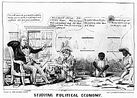 0175803 © Granger - Historical Picture ArchiveCARTOON: WHIGS.   'Studying Political Economy.' Anti-Whig cartoon showing Millard Fillmore, Zachary Taylor.