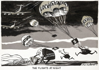 0622488 © Granger - Historical Picture ArchiveCARTOON: NIGHT FLIGHTS, 1976.   'The flights at night.' Cartoon comment on illegal payments made by aircraft manufacturers Lockheed and Northrop to officials in various foreign countries. Cartoon by Edmund Valtman, 10 February 1976.