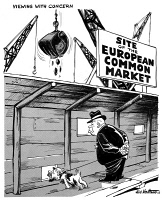 0622489 © Granger - Historical Picture ArchiveEUROPEAN COMMON MARKET.   'Viewing with concern.' Cartoon comment on the growing prosperity of the European Common Market, viewed with concern by representations of Soviet leader Nikita Khrushchev and East German head of state Walter Ulbricht (portrayed as a dog). Cartoon by Edmund Valtman, 9 January 1962.