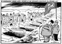 0622497 © Granger - Historical Picture ArchiveCARTOON: CHINESE FAMINE.   'By government decree every member of the commune is entitled to a private lot.' Cartoon comment on the Great Chinese Famine and the reduction of agricultural centralization announced by Mao Zedong's government. Cartoon by Edmund Valtman, 9 March 1961.