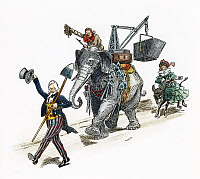 0007227 © Granger - Historical Picture ArchivePANAMA CANAL CARTOON, 1903.   'On to Panama!' American cartoon, 1903, showing Uncle Sam leading a country united behind President Theodore Roosevelt to begin construction on the Panama Canal.