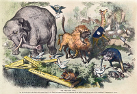 0008843 © Granger - Historical Picture ArchiveREPUBLICAN ELEPHANT, 1874.   'The Third-Term Panic.' An 1874 cartoon by Thomas Nast denying that President Ulysses S. Grant was seeking a third term, featuring the first appearance of the elephant as the symbol of the Republican Party.