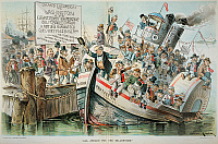 0009874 © Granger - Historical Picture ArchiveMcKINLEY CARTOON, 1896.   'All Aboard for the Millennium.' An anti William McKinley cartoon of 1896.