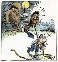 0032494 © Granger - Historical Picture ArchiveSUPREME COURT REFORM.   American cartoon, 1937, showing President Franklin D. Roosevelt attempting the impossible task of pulling his Supreme Court reform plan through the U.S. Senate.