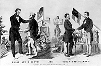 0060118 © Granger - Historical Picture ArchivePRESIDENTIAL CAMPAIGN, 1864.   Contemporary American cartoon showing the rival candidates Abraham Lincoln (Union and Liberty!) and General George B. McClellan (Union and Slavery!).