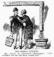 0090125 © Granger - Historical Picture ArchiveTEDDY ROOSEVELT CARTOON.   'The Boss's Anxiety. Mr. Platt to Governor Roosevelt: 'You wouldn't rob the Old Man, would you?'' Senator Thomas Collier Platt fears the possibility of corporate campaign contributions being diverted from the party by the proposed franchise tax. Contemporary American cartoon.
