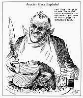 0097577 © Granger - Historical Picture ArchiveROOSEVELT CARTOON, 1938.   'Another Myth Exploded.' American cartoon, 1938, by Quincy Scott commenting on President Franklin D. Roosevelt's supposed antagonism towards the rich.
