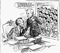 0115517 © Granger - Historical Picture ArchiveROOSEVELT AND HULL, 1944.   U.S. Secretary of State Cordell Hull introduces President Franklin D. Roosevelt to 'the ambassadors of the new Russian republics,' all likenesses of Soviet dictator Joseph Stalin, at the time of the Red Army's advance westward during World War II. American cartoon by Clifford K. Berryman, 1944.