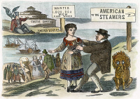 0009696 © Granger - Historical Picture ArchiveCARTOON: IMMIGRATION, c1855. 'The Lure of American Wages.' Cartoon suggesting the comparatively high wage rates paid in the United States stimulated immigration from Europe. Cartoon, c1855.