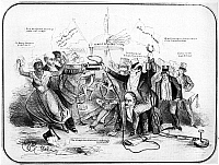 0048497 © Granger - Historical Picture ArchiveFUGITIVE SLAVE LAW.   A slaveholder is riding Daniel Webster while William Lloyd Garrison protects a black woman in this comment on the Fugitive Slave Law. Lithograph cartoon, 1851.