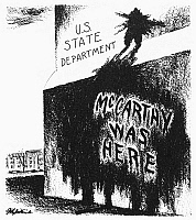 0033915 © Granger - Historical Picture ArchiveMcCARTHYISM CARTOON, 1950.   'McCarthy Was Here.' American cartoon by Daniel R. Fitzpatrick, 1950, on the scurrilous allegations by Senator Joseph R. McCarthy that Communists had infiltrated the U.S. State Department.