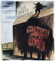 0033916 © Granger - Historical Picture ArchiveCARTOON: McCARTHYISM, 1950.   'McCarthy Was Here.' American cartoon on the scurrilous allegations by Senator Joseph R. McCarthy that Communists had infiltrated the U.S. State Department. Cartoon by Daniel R. Fitzpatrick, 1950.