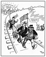 0035706 © Granger - Historical Picture ArchiveCARTOON: RED SCARE, 1919.   'Moving Days.' American cartoon published during the Red Scare of 1919, suggesting that the newly-established American Legion would help keep U.S. cities free from such unwanted foreign elements as anarchy and bolshevism. Cartoon, 1919.