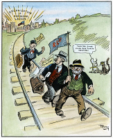 0035707 © Granger - Historical Picture ArchiveCARTOON: RED SCARE, 1919.   'Moving Days.' American cartoon published during the Red Scare of 1919, suggesting that the newly-established American Legion would help keep U.S. cities free from such unwanted foreign elements as anarchy and bolshevism. Cartoon, 1919.
