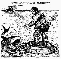0092231 © Granger - Historical Picture ArchiveAMERICAN COMMUNISTS, 1939.   'The Marooned Maroon.' American cartoon, 1939, depicting the American Communist Party as politically stranded in the aftermath of the Nazi-Soviet non-agression pact, with no protection against the investigations of the House Committee on Un-American Activities (the 'Dies Committee').