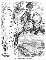 0064529 © Granger - Historical Picture ArchivePAPAL-INFALLIBILITY CARTOON.   An American cartoon of 1870 by Thomas Nast satirizing Pope Pius IX and the dogma of papal infallibility promulgated at the First Vatican Council of 1869-1870.