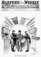 0089534 © Granger - Historical Picture ArchiveMONOPOLY AND TARIFFS, 1888.   'The Consumer Consumed.' American cartoon by W.A. Rogers, 1888, on the high prices being imposed on the American consumer as a result of monopolistic practices and government tariff policies.