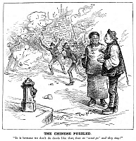 0001085 © Granger - Historical Picture ArchiveNAST: IMMIGRANT CARTOON.   'The Chinese Puzzled.' An 1886 cartoon by Thomas Nast suggesting that rabble-rousing anarchists are more welcome in America than peaceful Chinese immigrants.