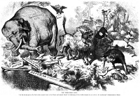 0051314 © Granger - Historical Picture ArchiveREPUBLICAN ELEPHANT, 1874.   'The Third-Term Panic.' An 1874 cartoon by Thomas Nast denying that President Ulysses S. Grant was seeking a third term, featuring the first appearance of the elephant as the symbol of the Republican Party.