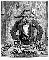 0087147 © Granger - Historical Picture ArchiveNAST: APRIL FOOL'S DAY.   'The Day We Celebrate. Toast: We Are not All Dead yet.' Wood engraving, 1877, after Thomas Nast.